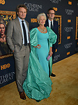 "Jason Clarke, Helen Mirren, Philip Martin A attends the Los Angeles Premiere Of The New HBO Limited Series ""Catherine The Great"" at The Billy Wilder Theater at the Hammer Museum on October 17, 2019 in Los Angeles, California."