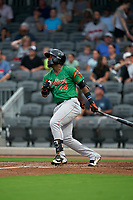 Down East Wood Ducks Yanio Perez (44) at bat during a Carolina League game against the Fayetteville Woodpeckers on August 13, 2019 at SEGRA Stadium in Fayetteville, North Carolina.  Fayetteville defeated Down East 5-3.  (Mike Janes/Four Seam Images)