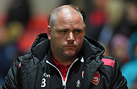 A dejected Morecambe's Manager Jim Bentley<br /> <br /> Photographer Dave Howarth/CameraSport<br /> <br /> EFL Checkatrade Trophy - Northern Section Group A - Fleetwood Town v Morecambe - Tuesday 3rd October 2017 - Highbury Stadium - Fleetwood<br />  <br /> World Copyright &copy; 2018 CameraSport. All rights reserved. 43 Linden Ave. Countesthorpe. Leicester. England. LE8 5PG - Tel: +44 (0) 116 277 4147 - admin@camerasport.com - www.camerasport.com