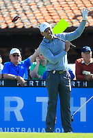 Charl Schwartzel (RSA) on the 1st tee during Round 1 of the ISPS HANDA Perth International at the Lake Karrinyup Country Club on Thursday 23rd October 2014.<br /> Picture:  Thos Caffrey / www.golffile.ie