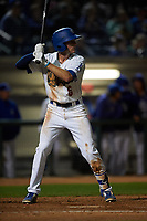 Rancho Cucamonga Quakes left fielder Logan Landon (6) at bat during a California League game against the Lake Elsinore Storm at LoanMart Field on May 19, 2018 in Rancho Cucamonga, California. Lake Elsinore defeated Rancho Cucamonga 10-7. (Zachary Lucy/Four Seam Images)