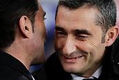 2nd February 2019, Camp Nou, Barcelona, Spain; La Liga football, Barcelona versus Valencia; Ernesto Valverde of FC Barcelona speaks with Marcelono of Valencia CF