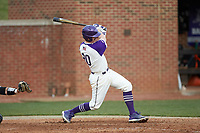 Brian Rall (20) of the High Point Panthers follows through on his swing against the Campbell Camels at Williard Stadium on March 16, 2019 in  Winston-Salem, North Carolina. The Camels defeated the Panthers 13-8. (Brian Westerholt/Four Seam Images)