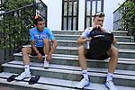 Gergio Luis Henao (COL) and David De La Cruz (ESP) Team Sky get ready for a morning training ride before Stage 1 of the La Vuelta 2018, an individual time trial of 8km running around Malaga city centre. Mijas, Spain. 23rd August 2018.<br /> Picture: Eoin Clarke | Cyclefile<br /> <br /> <br /> All photos usage must carry mandatory copyright credit (© Cyclefile | Eoin Clarke)