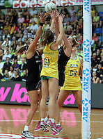 13.10.2013 Silver Fern Casey Kopua and Leanna de Bruin and Australian Diamond Natalie Medhurst in action during the Silver Ferns V Australian Diamonds Netball Series played at the AIS Arena in Canberra Australia. Mandatory Photo Credit ©Michael Bradley.