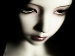 close up of a dolls white face