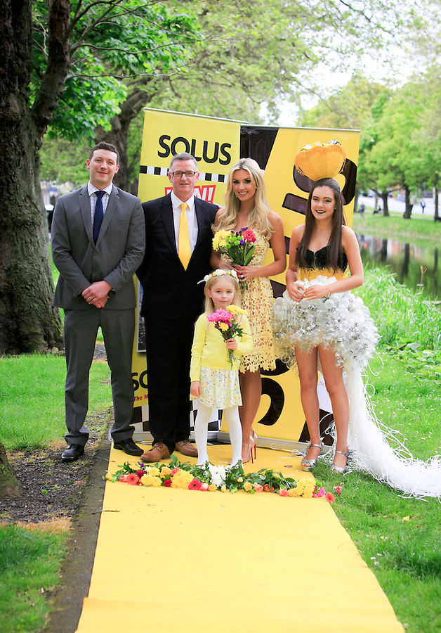 ***NO FEE PIC ***<br /> 23/05/2016 <br /> (L to R) Chris Furey Director of Smith Furey Group, David Reynolds Sales and Marketing Director, Solus, Annabelle Smith (6), Former Miss World Rosanna Davison,Ciara Flaherty (16)<br />  launch the search for Solus Brightest at Bloom from the yellow carpet at Mespil Road, Dublin.<br />  On Sunday June 5th at 2pm at the Solus Garden at Bloom in the Phoenix Park, the Brightest at Bloom will be chosen on the yellow carpet from ten finalists.  Solus Brightest at Bloom is a nod to ladies day but all-inclusive, open to ladies, gentlemen, children and all sunny dispositions young &hellip; and not so young!  It is not just about fashion but more about luminosity, brightness and light.  See details on Solus Facebook Page to enter.<br /> Photo: Gareth Chaney Collins