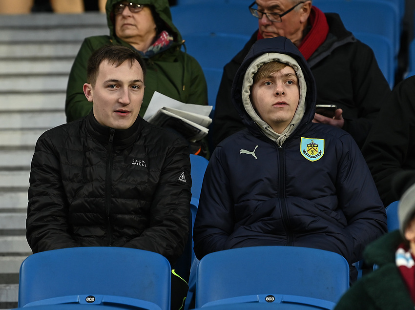 Burnley fans<br /> <br /> Photographer David Horton/CameraSport<br /> <br /> The Premier League - Brighton and Hove Albion v Burnley - Saturday 9th February 2019 - The Amex Stadium - Brighton<br /> <br /> World Copyright © 2019 CameraSport. All rights reserved. 43 Linden Ave. Countesthorpe. Leicester. England. LE8 5PG - Tel: +44 (0) 116 277 4147 - admin@camerasport.com - www.camerasport.com