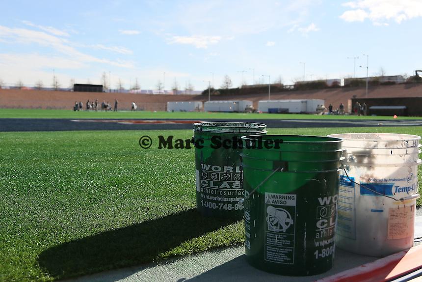 Spielfeld für den Super Bowl XLIX wird mit viel Farbe vorbereitet - Super Bowl XLIX Stadion-PK, University of Phoenix Stadium