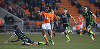 Blackpool's Sessi D'Almeida is tackled by Bristol Rovers' Tom Lockyer<br /> <br /> Photographer Stephen White/CameraSport<br /> <br /> The EFL Sky Bet League One - Blackpool v Bristol Rovers - Saturday 13th January 2018 - Bloomfield Road - Blackpool<br /> <br /> World Copyright &copy; 2018 CameraSport. All rights reserved. 43 Linden Ave. Countesthorpe. Leicester. England. LE8 5PG - Tel: +44 (0) 116 277 4147 - admin@camerasport.com - www.camerasport.com