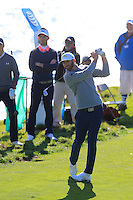 Dustin Johnson (USA) tees off the 8th tee at Pebble Beach Golf Links during Saturday's Round 3 of the 2017 AT&amp;T Pebble Beach Pro-Am held over 3 courses, Pebble Beach, Spyglass Hill and Monterey Penninsula Country Club, Monterey, California, USA. 11th February 2017.<br /> Picture: Eoin Clarke | Golffile<br /> <br /> <br /> All photos usage must carry mandatory copyright credit (&copy; Golffile | Eoin Clarke)