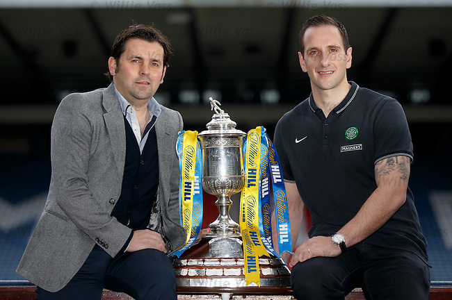 William Hill Scottish Cup 5th Round draw. Hampden Park: Dundee manager Paul Hartley and Celtic coach John Kennedy