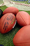 16 October 2005: Footballs lie on the sidelines in a game where the Buffalo Bills host the New York Jets on October 16, 2005 at Ralph Wilson Stadium, in Orchard Park, NY. The Bills defeated the division rival Jets 27-17. ..Mandatory Photo Credit: Ed Wolfstein