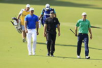 This year's Major winners Brooks Koepka (USA), Sergio Garcia (ESP) and Jordan Spieth out together on the 14th hole during Thursday's Round 1 of the 2017 PGA Championship held at Quail Hollow Golf Club, Charlotte, North Carolina, USA. 10th August 2017.<br /> Picture: Eoin Clarke | Golffile<br /> <br /> <br /> All photos usage must carry mandatory copyright credit (&copy; Golffile | Eoin Clarke)