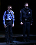 "Michael Cera and Chris Evans taking their first performance curtain call bow for ""Lobby Hero"", marking Evans' Broadway debut and the inaugural performance at Second Stage's Hayes Theater on March 1, 2018 at The Hayes Theatre in New York City."