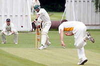 I Barrie of Bessborough bowls to Mark Askew who edges the ball to first slip and is out during the Middlesex County Cricket League Division Three game between North London and Bessborough at Park Road, Crouch End on Saturday June 12, 2010