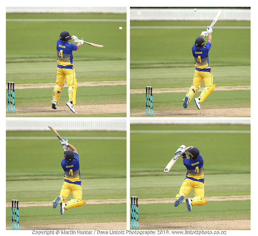 Neil Broom of Otago Volts plays a hook shot off a bouncer from Wellington fast bowler Hamish Bennett while on 95 runs during the Ford Trophy One Day match (round five) between Wellington Firebirds and Otago Volts at Bert Sutcliffe Oval in Lincoln, New Zealand on Friday, 29 November 2019. Photo: Martin Hunter / lintottphoto.co.nz
