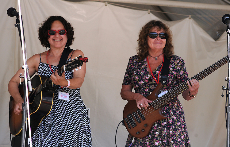 Erica Weiss, and Evelyn Schneider of Jesse Lege & Bayou Brew performing on the Main Stage at the Falcon Ridge Folk Festival, held on Dodd's Farm in Hillsdale, NY on Saturday, August 1, 2015. Photo by Jim Peppler. Copyright Jim Peppler 2015.