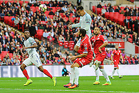 Dele Alli (Tottenham Hotspur) of England heads goalwards for England's best chance of the game so far during the FIFA World Cup qualifying match between England and Malta at Wembley Stadium, London, England on 8 October 2016. Photo by David Horn / PRiME Media Images.s