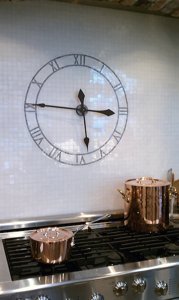 Custom kitchen backsplash clock shown in Thassos and Bardiglio.