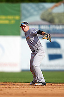 Trenton Thunder second baseman Billy Fleming (15) during the first game of a doubleheader against the Hartford Yard Goats on June 1, 2016 at Sen. Thomas J. Dodd Memorial Stadium in Norwich, Connecticut.  Trenton defeated Hartford 4-2.  (Mike Janes/Four Seam Images)