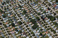 aerial view above residential neighborhood west side Cleveland Ohio