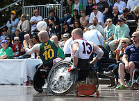 AUSTRALIA vs USA<br /> Be The Influence Wheelchair Rugby<br /> Tri-Nations / Day 1 Game 1<br /> Cathedral Square, Sydney NSW<br /> Wednesday 18th September 2013<br /> © Sport the library / Jeff Crow