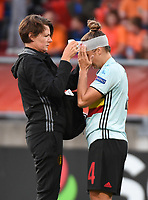 20170724 - TILBURG , NETHERLANDS : Belgian Maud Coutereels (L) with doctor Fabienne Van De Steen (L)  pictured during the female soccer game between Belgium and The Netherlands  , the thirth game in group A at the Women's Euro 2017 , European Championship in The Netherlands 2017 , Monday 24 th June 2017 at Stadion Koning Willem II  in Tilburg , The Netherlands PHOTO SPORTPIX.BE | DIRK VUYLSTEKE