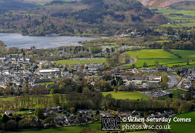 Keswick 1 Kendal 1, 15/04/2017. Fitz Park, Westmoreland League. View of Keswick from Latrigg, a nearby fell. The football pitch is left of the car park in the bottom right corner. Photo by Paul Thompson.