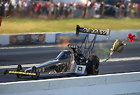 Jun 11, 2016; Englishtown, NJ, USA; NHRA top fuel driver Tony Schumacher during qualifying for the Summernationals at Old Bridge Township Raceway Park. Mandatory Credit: Mark J. Rebilas-USA TODAY Sports