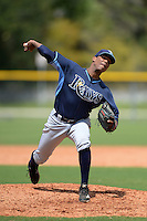 Tampa Bay Rays pitcher Orlando Romero (90) during an Instructional League game against the Pittsburgh Pirates on September 27, 2014 at Charlotte Sports Park in Port Charlotte, Florida.  (Mike Janes/Four Seam Images)