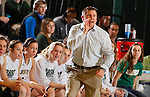 JANUARY 30, 2015 -- Black Hills State head women's basketball coach Mark Nore shouts instructions to his team during their Rocky Mountain Athletic Conference women's basketball game against Regis University Friday evening at the Donald E. Young Center in Spearfish, S.D.  (Photo by Dick Carlson/Inertia)