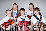 Laune Rangers musicians who competed at the County Scor na bPaistí finals in the INEC on Sunday l-r: Orlaith O'Sullivan, Nessa Healy, Liam Healy, Milly Foley and Niamh Doyle
