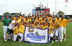 SIOUX FALLS, SD - MAY 24:  NDSU poises for a photo following the Bison's 9-0 victory over Western Illinois in the 2014 Summit League Championship game Saturday at the Sioux Falls Stadium. (Photo by Dave Eggen/Inertia)