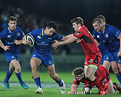 29th September 2017, RDS Arena, Dublin, Ireland; Guinness Pro14 Rugby, Leinster Rugby versus Edinburgh; Joey Carbery (Leinster) hands off a tackle from James Johnstone (Edinburgh)