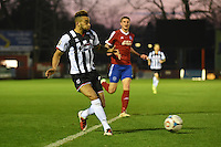 Nathan Arnold of Grimsby Town crosses the ball during the Vanarama National League match between Aldershot Town and Grimsby Town at the EBB Stadium, Aldershot, England on 5 April 2016. Photo by Paul Paxford / PRiME Media Images.