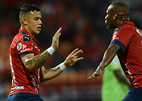 MEDELLÍN - COLOMBIA, 18-04-2018: Leonardo Castro (Izq) jugador del Medellín celebra después de anotar un gol al Jaguares F.C. durante el partido entre Deportivo Independiente Medellín y Jaguares F.C. por la fecha 16 de la Liga Águila I 2018 jugado en el estadio Atanasio Girardot de la ciudad de Medellín. / Leonardo Castro (L) player of Medellin celebrates after scoring a goal to Jaguares F.C. during match between Deportivo Independiente Medellin and Jaguares F.C. for the date 16 of the Aguila League I 2018 played at Atanasio Girardot stadium in Medellin city. Photo: VizzorImage/ León Monsalve / Cont