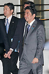 Japan's Prime Minister Shinzo Abe leaves the teppanyaki restaurant Ukai-tei in Ginza on November 5, 2017, Tokyo, Japan. Abe and US President Donald Trump enjoyed dinner in Tokyo after playing golf in the afternoon. Japan is the first stop on his five-nation tour in Asia. (Photo by Rodrigo Reyes Marin/AFLO)
