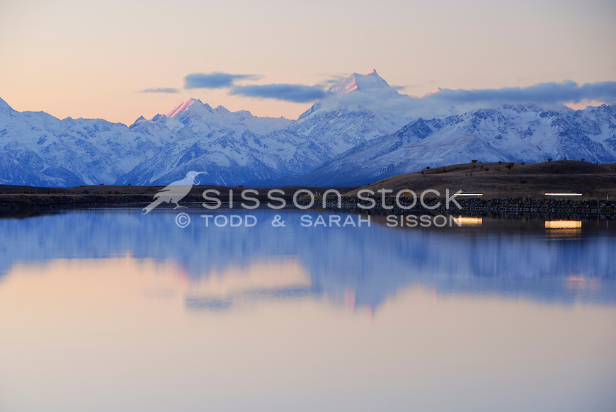 Carlights around the Tekapo canal with a reflection of last light on Mt Cook / Aoraki