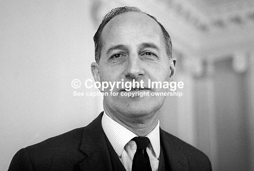 Prime Minister, Captain Terence O'Neill, photographed following 24th February 1969 N Ireland General Election for the Stormont Parliament. From O'Neill's point of view the election results were inconclusive. O'Neill in particular was humiliated by his near defeat in his own constituency of Bannside by Ian Paisley. He resigned as leader of the Ulster Unionist Party and as Prime Minister in April 1969196902240077<br /> <br /> Copyright Image from<br /> Victor Patterson<br /> 54 Dorchester Park<br /> Belfast, N Ireland, UK, <br /> BT9 6RJ<br /> <br /> t1: +44 28 90661296<br /> t2: +44 28 90022446<br /> m: +44 7802 353836<br /> e1: victorpatterson@me.com<br /> e2: victorpatterson@gmail.com<br /> <br /> www.victorpatterson.com