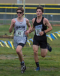 North Tahoe's JC Schoonmaker (16) finished second and Sierra Lutheran's Richard McNeely (42) finished third in the boys 2A/1A 5K Northern Nevada Regional Cross Country meet at Shadow Mountain Park on Friday, October 28, 2016.