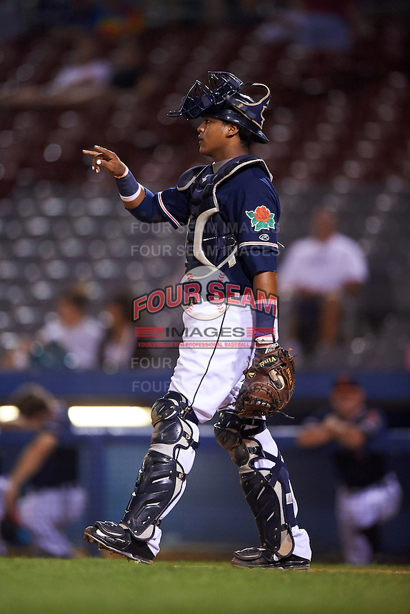 Connecticut Tigers catcher Franklin Navarro (57) during the second game of a doubleheader against the Brooklyn Cyclones on September 2, 2015 at Senator Thomas J. Dodd Memorial Stadium in Norwich, Connecticut.  Connecticut defeated Brooklyn 2-1.  (Mike Janes/Four Seam Images)