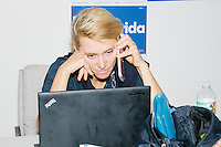 Heidi Scholz,42, of Miami Beach, is an attorney volunteering with the Voter Protection phonebanking team at the campaign office of Democratic presidential nominee Hillary Clinton in the Wynwood Arts District of Miami, Florida. The team is working to recruit volunteers to watch the polls on election day. Scholz is a Republican who supported Florida senator Marco Rubio in the primary but decided to support Hillary Clinton when Donald Trump became the Republican nominee. This was her first day volunteering for the campaign.