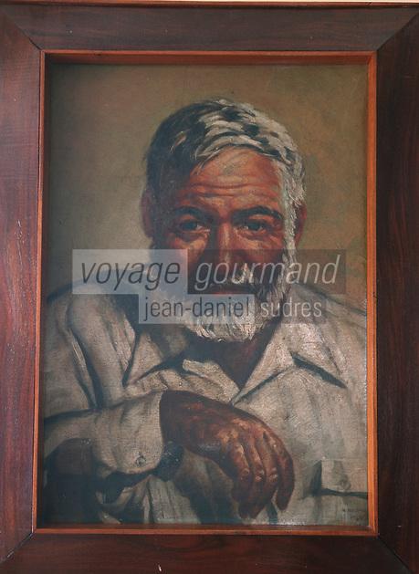"""Cuba/Env La Havane/Cojimar: Au restaurant """"la Terrazza"""" fréquenté par Ernest Hemingway - Portrait de l'écrivain"""