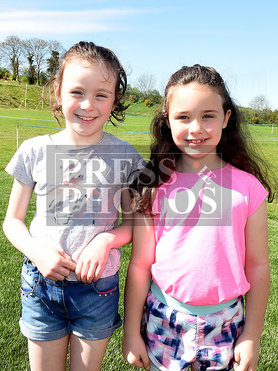 Lily Johnson and Holly Murray who took part in the St. Kevins charity relay run. Photo:Colin Bell/pressphotos.ie
