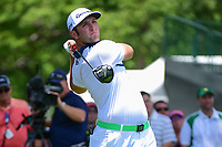 Jon Rahm (ESP) watches his tee shot on 3 during round 2 of the Dean &amp; Deluca Invitational, at The Colonial, Ft. Worth, Texas, USA. 5/26/2017.<br /> Picture: Golffile | Ken Murray<br /> <br /> <br /> All photo usage must carry mandatory copyright credit (&copy; Golffile | Ken Murray)