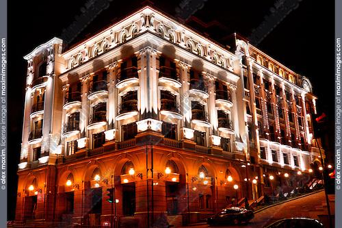 Beautiful hotel building in Kiev Ukraine Eastern Europe at night HDR Image