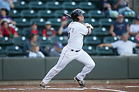 Hunter Jones (29) of the Winston-Salem Dash follows through on his swing against the Potomac Nationals at BB&T Ballpark on May 13, 2016 in Winston-Salem, North Carolina.  The Dash defeated the Nationals 5-4 in 11 innings.  (Brian Westerholt/Four Seam Images)