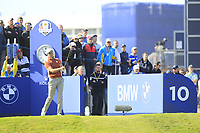 Henrik Stenson (Team Europe) on the 10th tee during Saturday Foursomes at the Ryder Cup, Le Golf National, Ile-de-France, France. 29/09/2018.<br /> Picture Thos Caffrey / Golffile.ie<br /> <br /> All photo usage must carry mandatory copyright credit (© Golffile | Thos Caffrey)