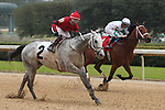 February 17, 2020: Silver Prospector (2) with jockey Ricardo Santana Jr. aboard fighting off Wells Bayou (1) with jockey Florent Geroux aboard before crossing the finish line in the Southwest Stakes at Oaklawn Racing Casino Resort in Hot Springs, Arkansas on February 17, 2020. Justin Manning/Eclipse Sportswire/CSM